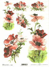 Rice Paper for Decoupage Scrapbooking, Painted Red Flowers ITD R564