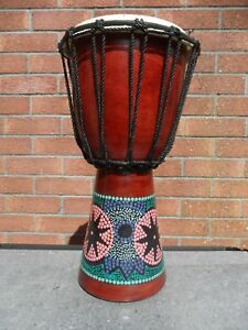 *  DJEMBE DRUM FAIRTRADE AND HANDMADE DOT PAINTED  FROM INDONESIA  *