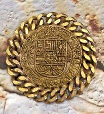 VINTAGE HATTIE CARNEGIE OLD COIN BROOCH PIN SIGNED