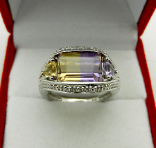Vintage Style 14k White Gold AMETRINE Ring with Diamond Accent 5.2 grams