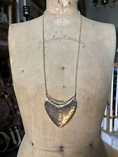 """ALEXIS BITTAR Brown Snake-like Lucite Gold Long Necklace, LARGE Pendant, 30"""""""