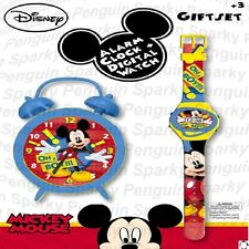 DISNEY MICKEY MOUSE ALARM CLOCK & DIGITAL WATCH GIFT SET KIDS BOYS GIRLS CHILDS