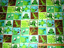 G is for Green Frog Turtle Lizard Bee Fleece Fabric  by the Yard