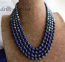 4Strands18'' 8mm Round Lapis lazuli Black Freshwater Pearl Necklace