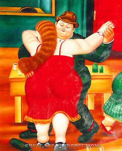 """The Dancers"", Fernando Botero, Reproduction in Oil, 48""x38"", Red"
