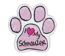 Pink Scribble Paws: I Love My Schnauzer | Dog Paw Shaped Car Magnets