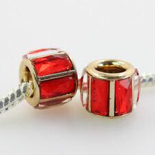 5X Facet Crystal Glass Gold Cylinder Tube Charm Beads for European Bracelet New
