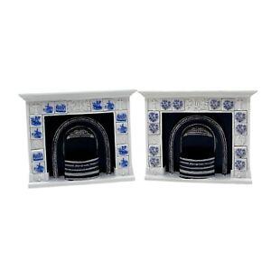Dollhouse Miniature REUTTER Fireplaces Porcelain Delft Blue/Blue Onion Tile 1:12