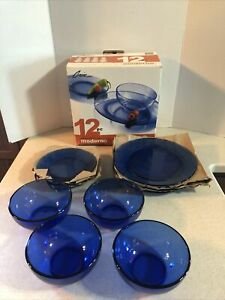 LIBBEY CRISA MODERNO MEDITERRANEAN BLUE 12 PC. DINNERWARE SET  SERVICE FOR 4