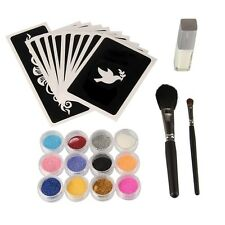 Body Art Stencil Kit 12 Glitter Colors+10 Temporary Tattoo Stencils+Glue+2 Brush