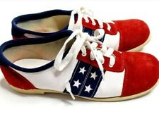 Vintage Flirtations Red White Blue Stars Leather Bowling Shoes Size 9 B womens