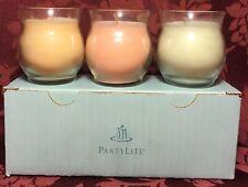 PartyLite Bestburn Mini Jar Candles Lot 3 White Tea Apricot Basil Cucumber Mint