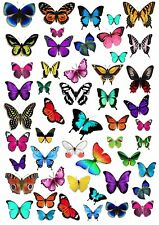 50 BUTTERFLY Wafer Rice Paper Cupcake Toppers EDIBLE CAKE DECORATION Butterflies