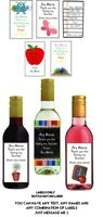 8 MINI personalised WINE LABELS THANK YOU Teacher gift, VERY CUTE!
