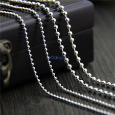 """925 Sterling Silver Bead Ball Chain Necklace 16 to 28"""" inch Various Thicknesses"""