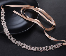Diamante Rhinestone Wedding Bridal Rose Gold Tone Crystal Applique Sash Belt