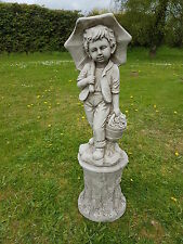 Garden ornament,concrete,boy/umbrella on pedestal,quality fibre feinforced