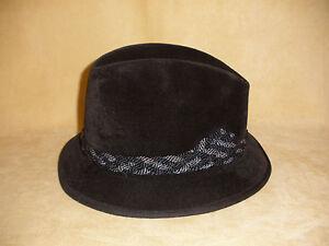 Men's Black Wool Felt Fedora w/ Braid Trim by Royal De Luxe Stetson - Size 6 7/8