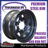 16X7 6 Stud Black Thunder Steel Wheel Rim +7 Offset 6/139.7 PCD Ranger Triton
