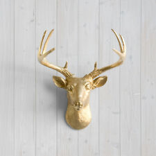 Wall Charmers Gold Mini Deer Faux Head Fake Animal Stag Antler Taxidermy Resin