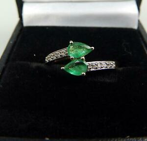 Fine vintage Jewelry 10ct gold, emerald & white topaz Crossover Ring Boxed 20thC