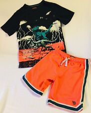 """Oshkosh B'gosh Genuine Article Boy's """"Raptor Valley"""" T-Shirt & Orange Shorts Set"""