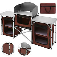 Easy Up Folding Kitchen Stand Storage Table Cabinet Portable Camping Travel