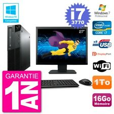 "PC LENOVO M82 SFF Screen 27 "" i7-3770 RAM 16Go Disk 1To DVD Burner Wifi W7"