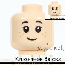 LEGO Minifigure Head LIGHT FLESH Female Girl Dual Sided Freckles Happy / Sad