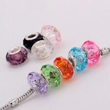 20pcs/lot 9*10mm Mixed Clr Acrylic Silver Plated Big Hole Charm Beads Bracelets
