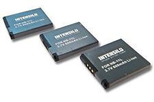 3x Intensilo Batteria 600mAh Li-Ion per Canon PowerShot A2300,A2400,A2500,A2600