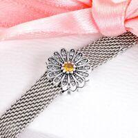 925 Silver Sparkling Daisy Flower Clip Charm Fits Reflexions bracelets
