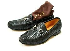 Gucci Men's Black Woven Leather Horsebit Buckle Slip-on Loafers Size 7 D US
