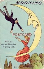 Mooning - What The Poor Old Moon Has To Put Up With seated woman awaits beau Zim