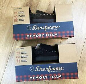 Mens Brand New In Box Dearfoams Slip On Memory Foam Slippers Sizes 6-13 UK