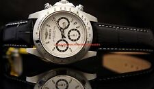 Invicta Mens Speedway Chronograph White Dial Diver Black Leather Strap Watch