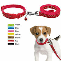 Printed Nylon Pet Dog Collar and Leash Set Adjustable for Chihuahua Poodle Pug