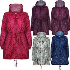 New Ladies Womens Parka Printed Kagoul Waterproof Raincoat lightweight Jacket