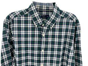 Men's Dress Shirt Size XL Green Beige Plaid Cremieux Classics Button Front New