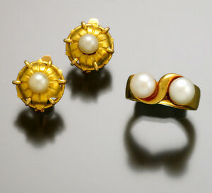 Rare 18K Gold Pearl Earrings & Ring