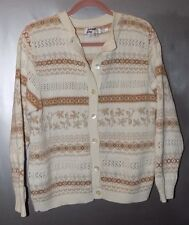 London Fog Ivory & Beige Cotton Cardigan - Misses Size S-NWOT