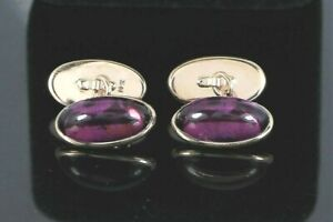 $2750 Vintage Men's 14K Rose Gold Double Sided Oval Cabochon Amethyst Cuff Links