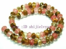 """4x6mm Faceted Roundel Watermelon Tourmaline Gem Loose Beads 15"""""""