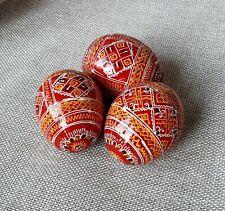 """3er Set Holz Ostereier handgemachte ukrainische Pysanky Pysanka Easter Eggs 2,5"""""""