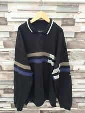 MENS DESIGNER BLACK STRIPED CARLO COLUCCI RETRO PULLOVER SPORTS JUMPER VGC L/XL