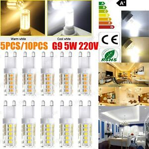 10X/5X G9 5W LED Dimmable Capsule Bulb Replace Halogen Light Lamps AC220-240V