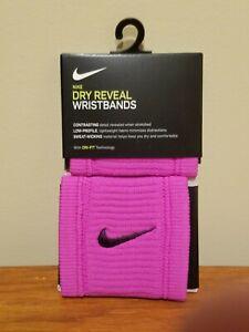 Nike Dri-Fit Dry Reveal Wristbands - Pair - Pink w/ Black Swoosh