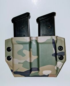 Multi Cam Kydex Tactical Double Magazine Carrier, Double Stack 9/40 Combat Loop