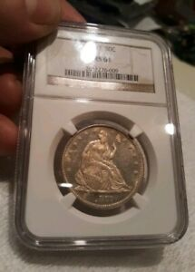 1877 50C Seated Liberty Half Dollar NGC MS-61 Great Black & White Contrast DMPL