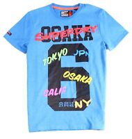 Superdry Mens T-Shirt Blue Size Small S Osaka City Crew Graphic Tee $29 #044